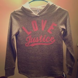 Girls Gray and Pink Justice hoodie